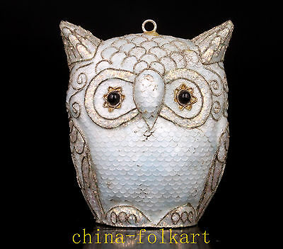 Rare White Owl Cloisonne Pendant Statue Figurine Gift Vintage Collectable Old