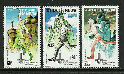 Djibouti C129-31 Mint Never Hinged Set - 1980 Moscow Olympics