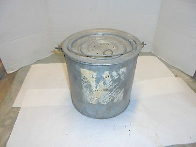 vintage galvanized metal minnow bucket with inner bait pail cabin fishing decor