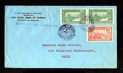 14734-GUADELOUPE-BANK COVER POINTE a PITRE to PARIS (france)1934.WWII.French.