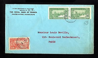 14736-GUADELOUPE-BANK COVER POINTE a PITRE to PARIS (france)1934.WWII.French.