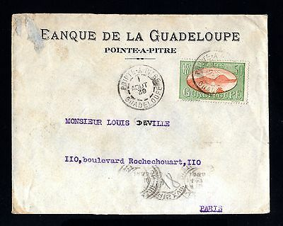 14737-GUADELOUPE-BANK COVER POINTE a PITRE to PARIS (france)1930.WWII.French.