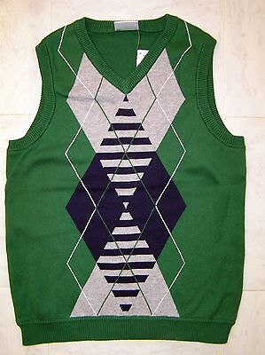 NWT New HANNA ANDERSSON Green ARGYLE Sweater VEST 140 10, 11, 12 HOLIDAY? Twins?