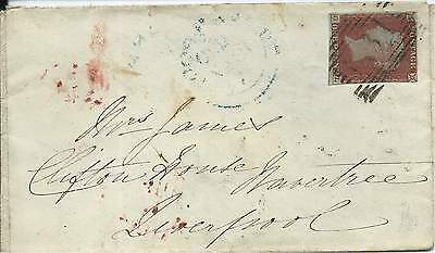 GB 1847 1d Red 3 Margins Cover from Edinburgh to Liverpool