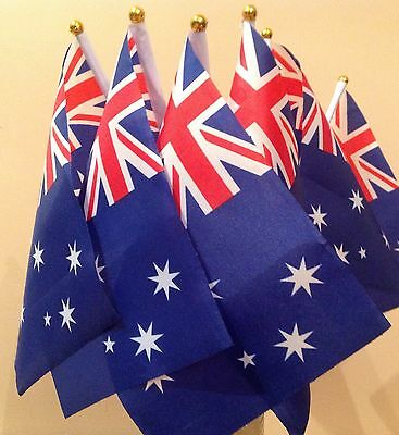 AUSTRALIA PACK OF 6 HAND WAVING FLAGS Small flag Australian With Plastic Pole