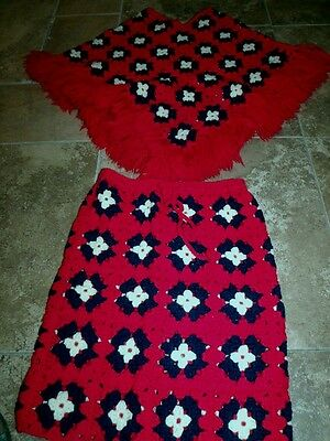 Retro Hand Crochet Granny Square Fringed Poncho AND Matching Skirt RED BLUE
