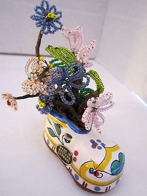 """vintage french glass bead & wire flowers in German Porcelain Painted Boot. 3x3""""."""