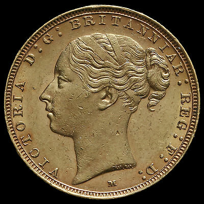 1886 Queen Victoria Young Head Full Sovereign, Melbourne Mint, A/UNC