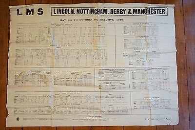 1946 LMS Railway Timetable Poster Lincoln Nottingham Derby Manchester