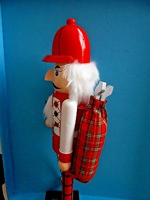 "NEW 15"" Professional Golf Golfer w/ Bag CHRISTMAS NUTCRACKER:Collectible Gift"