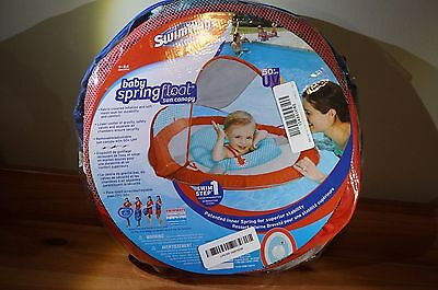 SwimWays Baby Spring Float Activity Center Pool Raft w/ Sun Canopy 11601 - Pink
