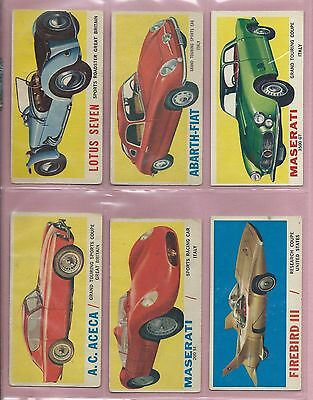 1961 Topps Wheels Of The World Near Complete Set 63/66 Nice!