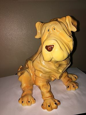 BIG Shar Pei Puppy Figurine Dog Wrinkly Breed Sculpture Pei Chinese Shar-pei dog