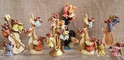 Vintage Mice Cherubs Figurine Collectables Musical Heavenly theme x SIX Pieces
