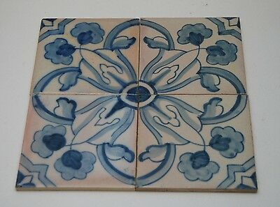 VINTAGE Sant Anna Portugal Hand Painted Floral Ceramic Blue_White Tiles_4 Pcs.