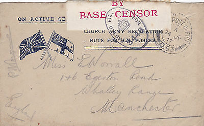 Ww1 1917 British Forces Western Front Fpo 163 Opened By Base Censor Cover 21*