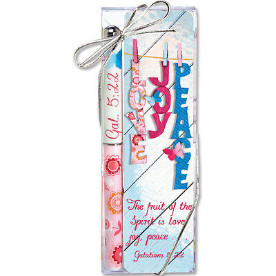 CHRISTIAN FAITH SCRIPTURE PEN & BOOKMARK GIFT SET * Love Joy Peace SHIPPED FAST!
