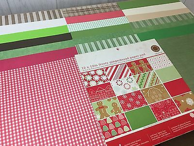 "57 Piece 12"" by 12"" CHRISTMAS Holiday Red Green Acid-free Scrapbooking Sheets"