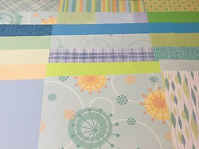 "40 Piece 12"" by 12"" Little Baby Boy Green & Blue Acid-free Scrapbooking Sheets"