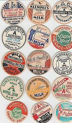 Lot Of 15 Different Milk Bottle Caps. All Named Dairies. #2
