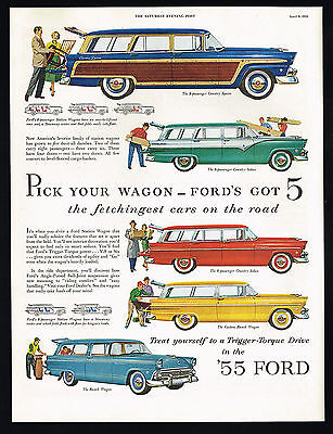 1955 Ford Station Wagon 5 Styles Vintage Car Color Print Ad