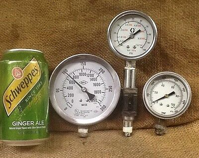 Vintage Lot Of 3 Pressure Gauges With Lens Steampunk