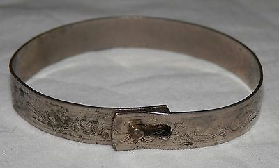 Antique Victorian Silver Tone Baby Child Bracelet Engraved Scroll Steel