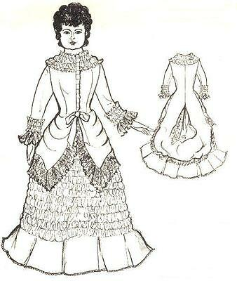 """Period DOLL DRESS PATTERN fits 16 - 17"""" Victorian German French"""
