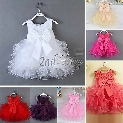 Baby Toddler Girls Dress Flower Princess Wedding Party Pageant Fancy TUTU Dress
