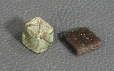 2 Early Byzantine Scale bronze weights Gaming Dice Die Incised Geometric symbols