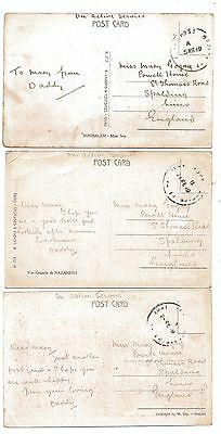 WW1 Postcards 'To Mary from Daddy' 1919 Egypt On Active Service to Spalding