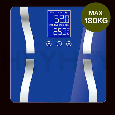 Digital Body Fat Scale Bathroom Scales Weight Gym Glass Water LCD Electronic BLU
