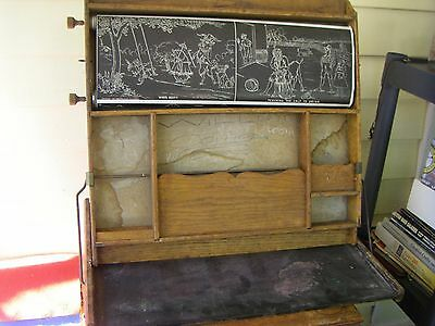 Antique 1913 Teacher's Aid School Desk with Scrolling Illustrated Aids