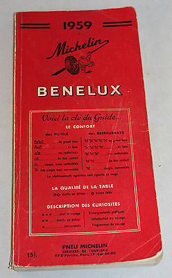 Vintage 1959 Michelin Benelux Tourist Guide And Map Book