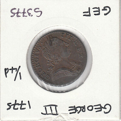 1775 George Iii Farthing S3775 Many Errors See Description