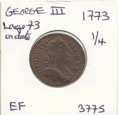 1773 George Iii Farthing S3775 Ef Overstruck -Great Coin