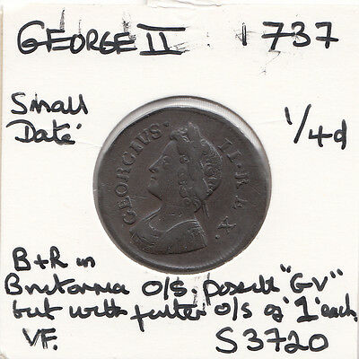 1737 George Ii Farthing S3720-Unrecorded- See Description