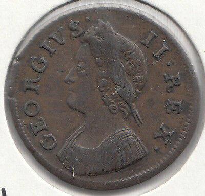 1739 George Ii Farthing S3720-Large Date- See Description