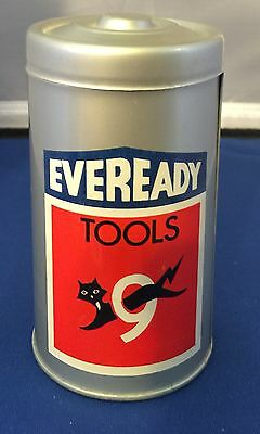 Vintage Eveready Battery Tool Tin with Mini Screwdriver Set