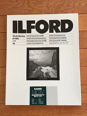 ILFORD 8x10 Multigrade IV RC Deluxe B&W Paper Pearl 25 Sheets; NEW SEALED