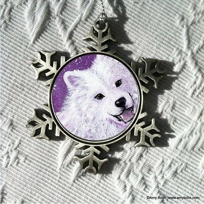 SAMOYED WISH UPON A SNOWFLAKE  Pewter Snowflake Christmas Ornament by Amy Bolin