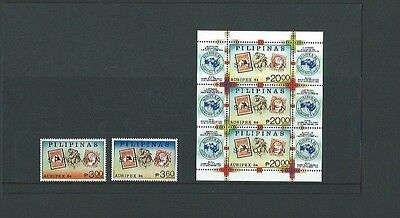 Philippines 1984 UMM Ausipex 84 Int Stamp Expo sg 1843/4 & MS1845 O/P Specimen