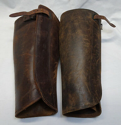 WWI US Army Officer Leather LeggingsSpats/Gaiters Pair Size 15 1/2