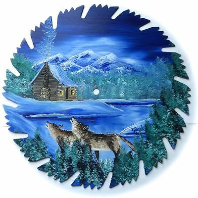 Hand Painted Saw Blade Art Mountain Winter Log Cabin w WOLVES 9 1/4 inch Blade