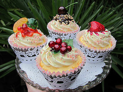 Fake Shabby Chic Glazed Fruit Delux Cupcakes Fairy  Cakes Prop Display  13