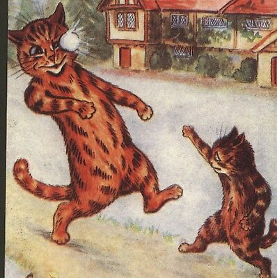 """Louis Wain """"a Christmas Present"""" Cat Snowball In Eye,reproduction Greeting Card"""