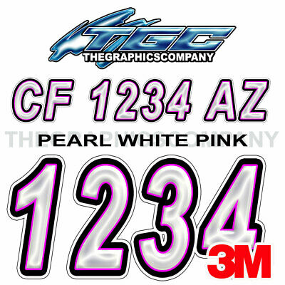 PEARL WHITE PINK  Custom Boat Registration Numbers Decals Vinyl Stickers USCG