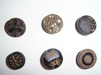 48 BEAUTIFUL ANTIQUE BUTTONS FRENCH JET  / GLASS with GOLD LUSTRE PATTERNS