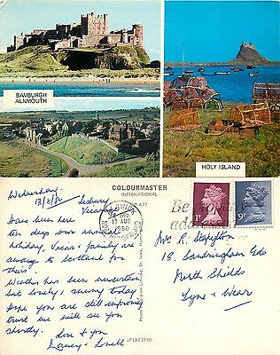 s07573 Bamburgh, Alnmouth, Northumberland, England postcard posted 1980 stamp