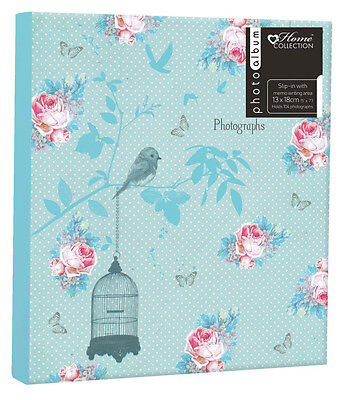 104 Slot Photo Album 5x7 Inch Floral Birds Photograph Book Memories Chic Case